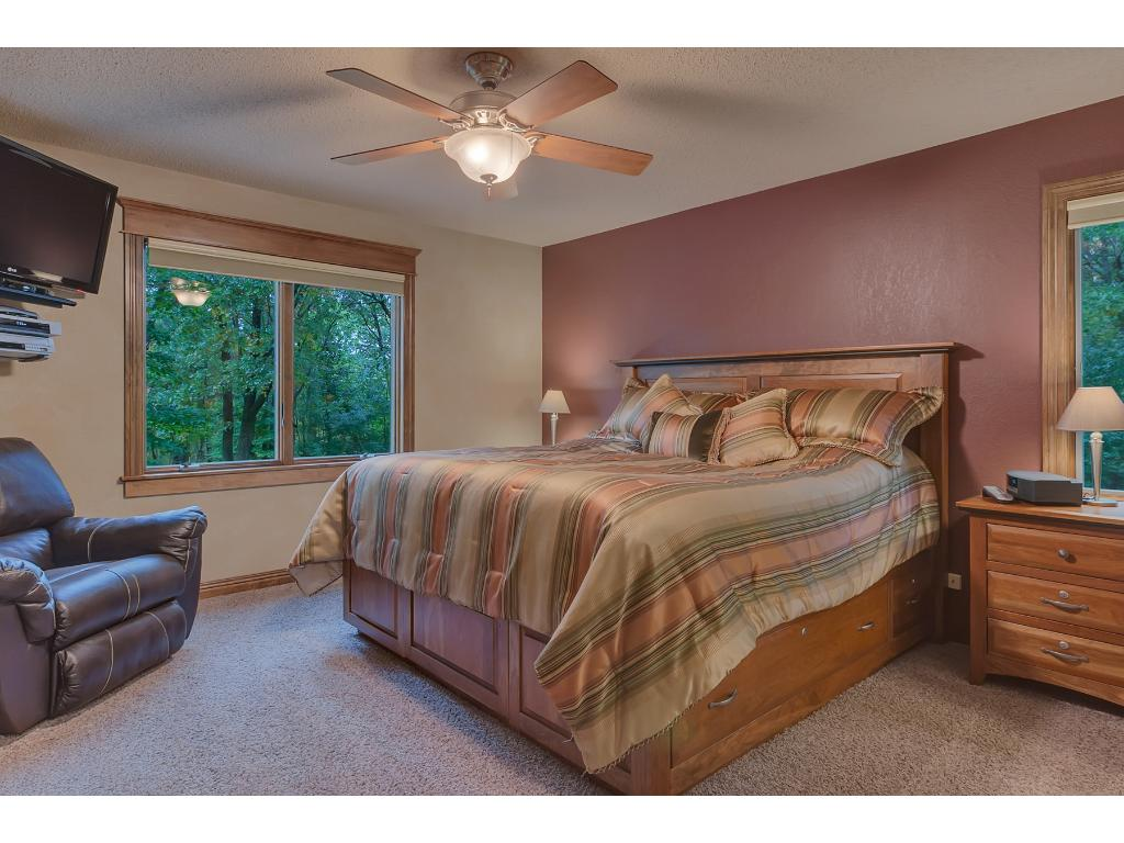 Big master bedroom with walk in closet with custom closet organizers!