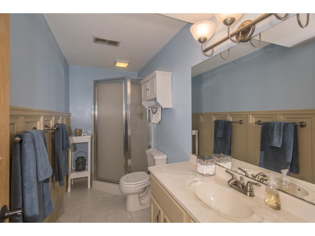 LL updated bathroom with wainscot