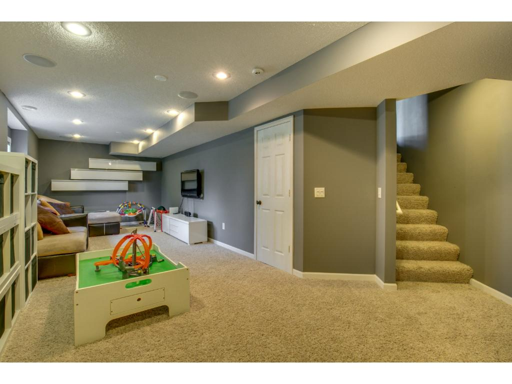 Finished Lower Level of home is perfect for entertaining with large family room and area to build a bar.