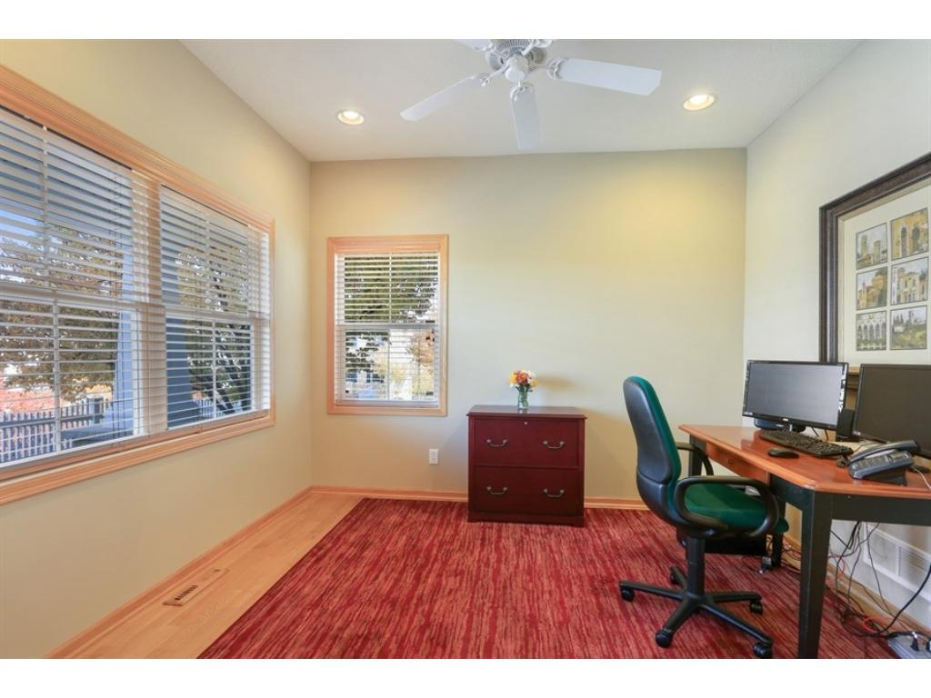 Main floor office - great space, wood floors, fan and wired and ready to go!
