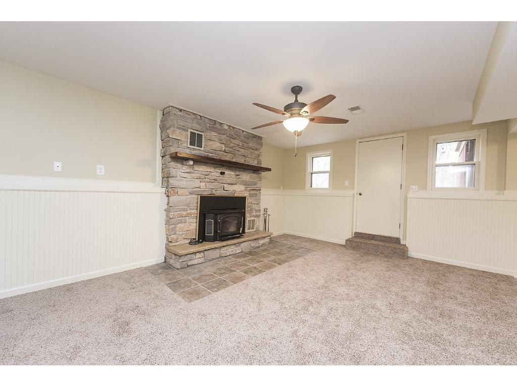 Lower level family room, complete with fireplace