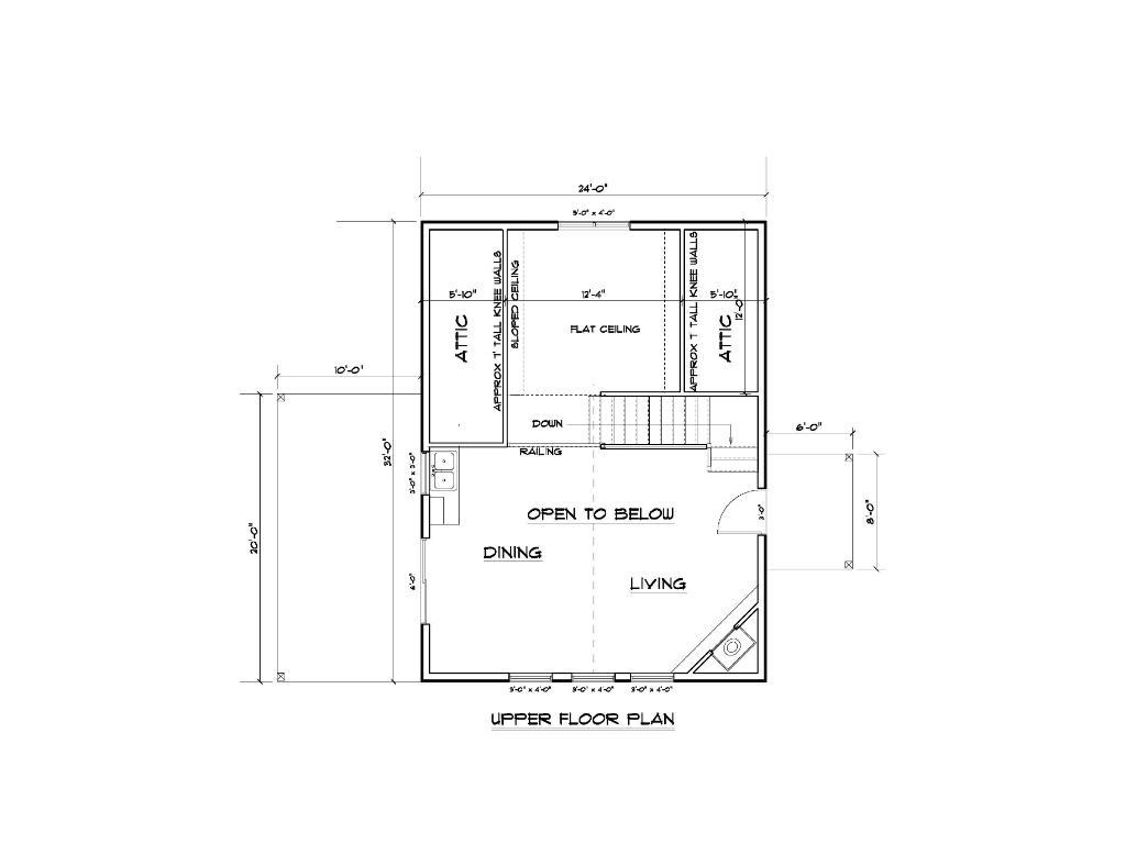 Upper level loft floor plan.