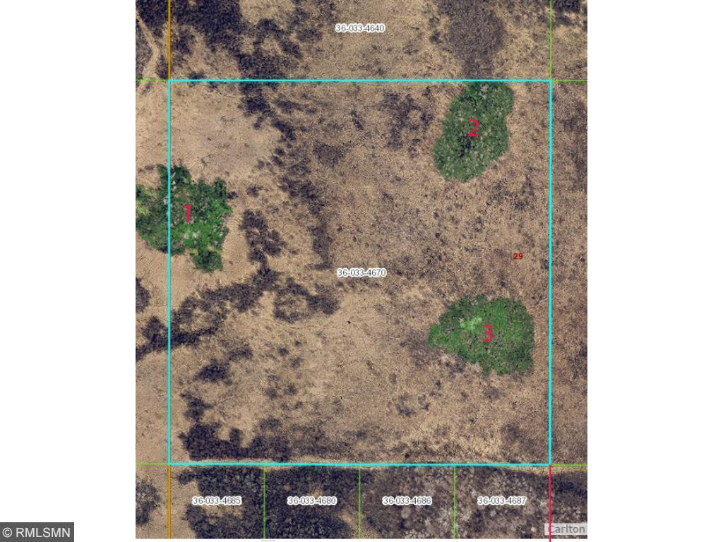 Zoomed in aerial showing wooded  areas, they are # for reference. Green areas are wooded, dark areas on map are alder, willow and bog birch, light areas are sedge meadow. I was able to walk out to lot (5/12/16) with knee high boots w/o getting wet.